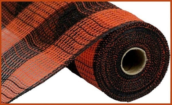 "10.5""X10yd Faux Jute/Pp Large Check Orange/Black"