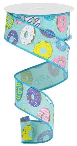 """1.5""""X10yd Donut Ribbon On Royal Color: Blu/Brn/Blue/Prpl/Ylw/Wht"""