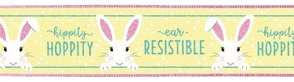 "2.5""X10yd Peeking Bunny On Royal Yellow/Cream/Pink"