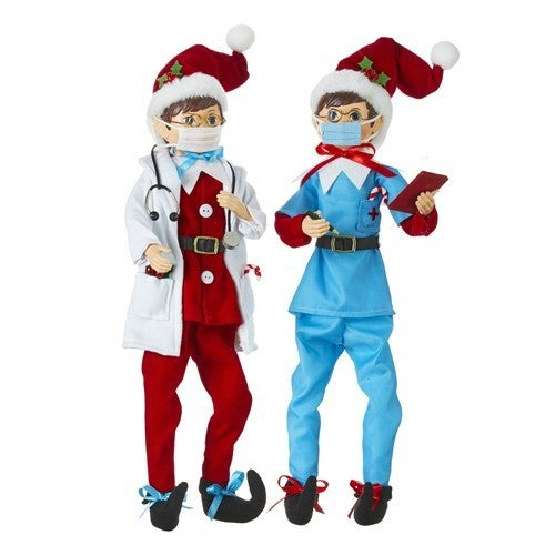 """16"""" Posable Doctor and Nurse Elf"""