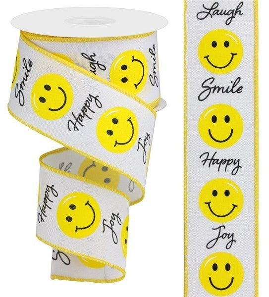"""2.5""""X10yd Smiley Face White"""