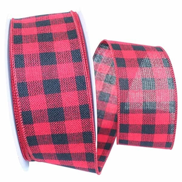 "HEARTY BUFFALO PLAID MEDIUM WIRED EDGE Red/Black 2.5""x10yds"