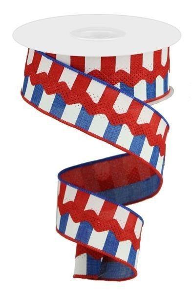 """1.5""""X10yd Horizontal Stripe/Royal Ricrac Red/White/Blue"""