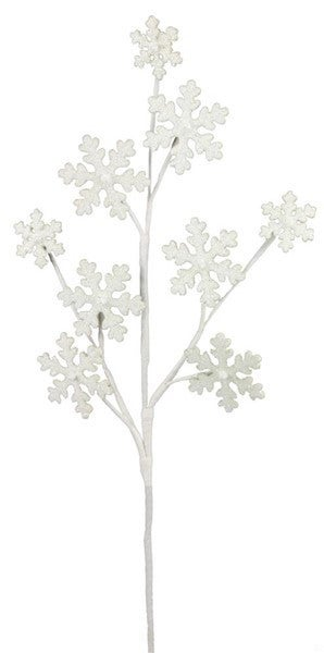 "23""L Glitter Snowflake Spray white/silver"