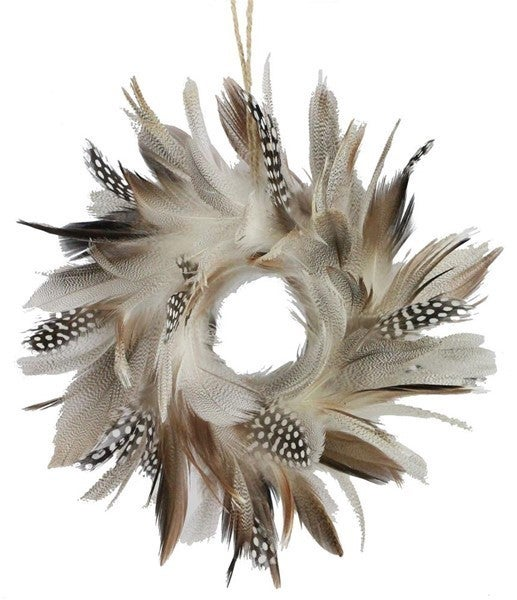 "8""Dia Feather Wreath GREY/BROWN/BLACK"