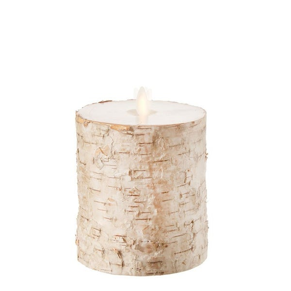 "4""X5"" Moving Flame Birch Wrapped Pillar Candle"