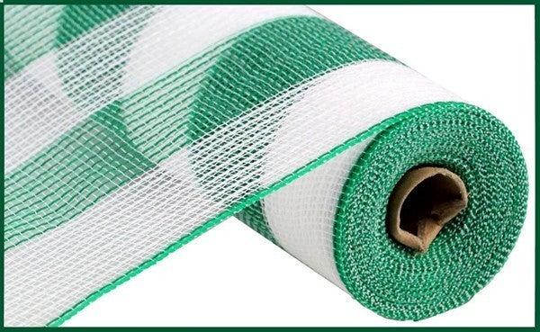 """10.5""""X10yd Faux Jute/Pp Wide Stripe White/Emerald Green"""