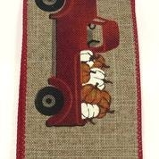 "Natural Linen/Red Truck-Pumpkins 2.5""x10yd"
