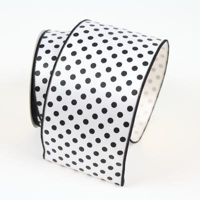 "MINI DOTS - 4""X 10YD / WHITE AND BLACK"