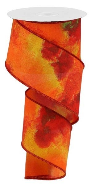 "2.5""X10YD WATERCOLOR BLEND Color: MUSTARD/ORANGE/BROWN"