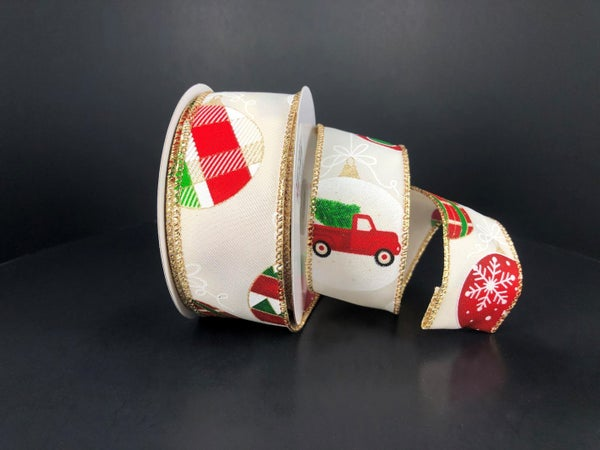 "1.5""x 10yd Ornament with truck Ivory/Emerald/Red/Gold on Linen"
