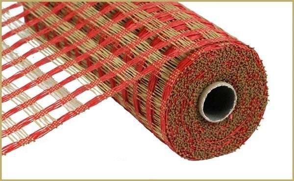 "10""X10YD POLY BURLAP CHECK MESH Color: Red/Buff"