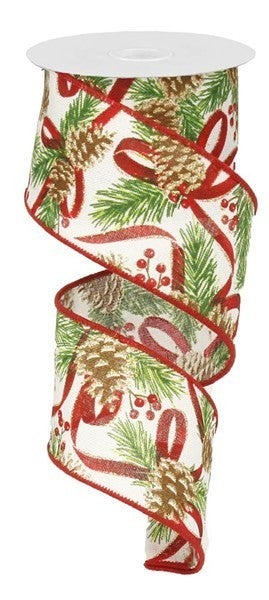 "2.5""X10yd Pinecone W/Pine/Berries/Royal white"