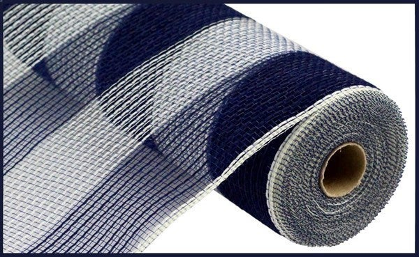 "10.5""X10yd Faux Jute/Pp Wide Stripe Navy Cream"