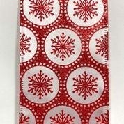 "White Shiny Satin/Red Snowflake Dots 2.5""x10yd"