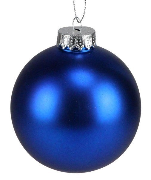 100Mm Seamless Ball Ornament Matte Blue Box of 4