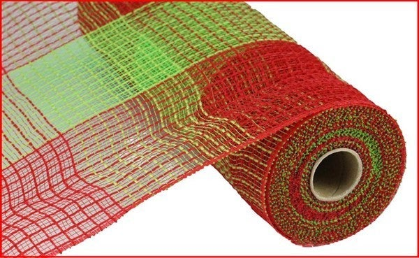 """10.5""""X10YD PP/FAUX JUTE WIDE CHECK Red/Lime"""