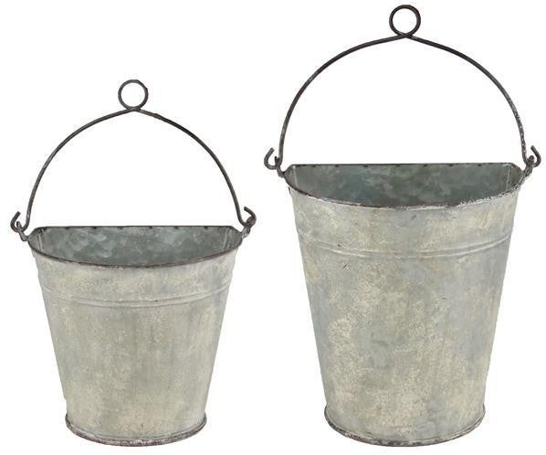 "7.5""-8.75""W Galvanized Wall Pocket SET OF 2"