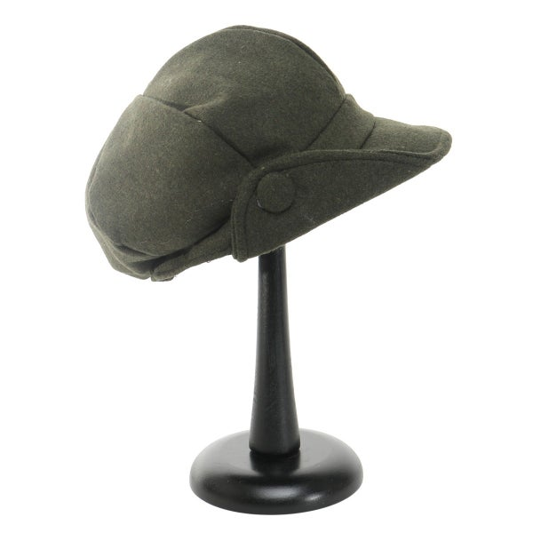 Olive Flip Up Button Slouch Cap