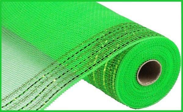"10.5""X10yd Tinsel/Foil Wide Border Mesh Lime Green"
