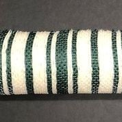 "Cream Green Ticking Stripe Mesh 10""x10yd"