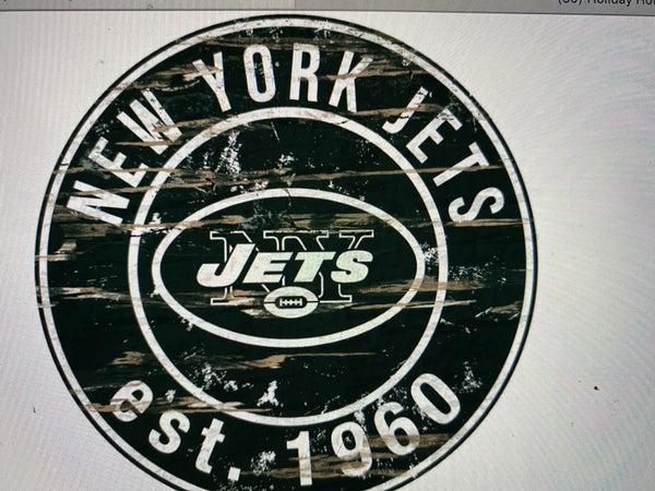 "12"" Destressed Wooden NFL Circle Sign - New York Jets"