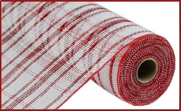 "10.5""X10yd Cotton/Pp/Foil/Check Mesh Red/White"