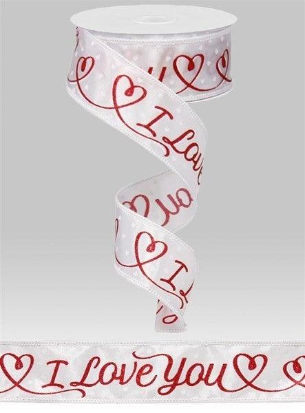 "1.5""X10yd I Love You W/Mini Hearts white"