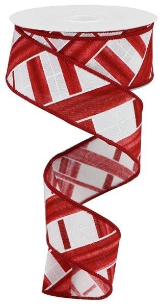 "1.5""X10yd Two Tone Stripe Check/Fuzzy White/Red"