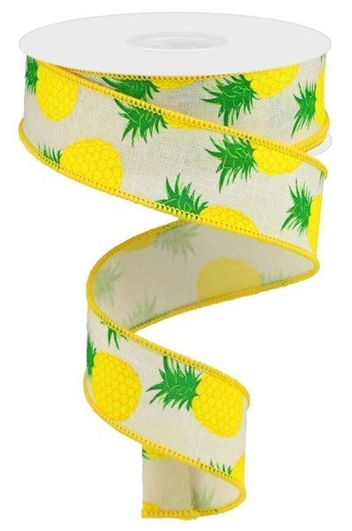 "1.5""X10yd Pineapples On Royal Color: Cream/Yellow/Green"