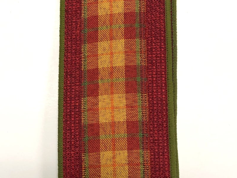 "Burgundy Faux Burlap/Fall Plaid Center 2.5""x10yd"