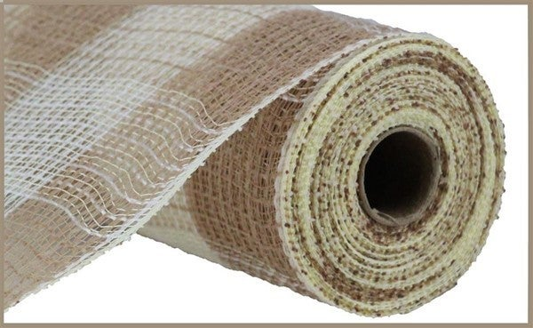 "10.5""X10yd Faux Jute/Pp Large Check Natural/Cream"