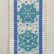 "White Linen/Aqua Snowflake Dash Edge 2.5""x10yd"