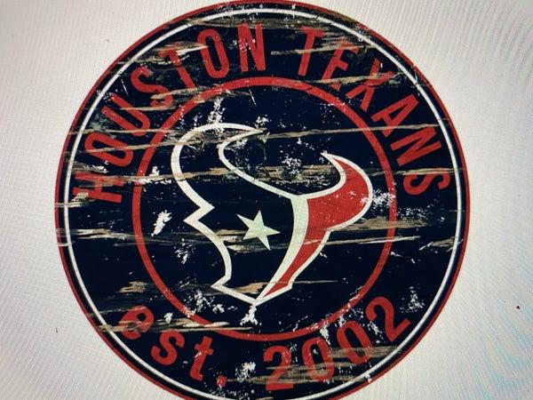 "12"" Destressed Wooden NFL Circle Sign - Houston Texans"
