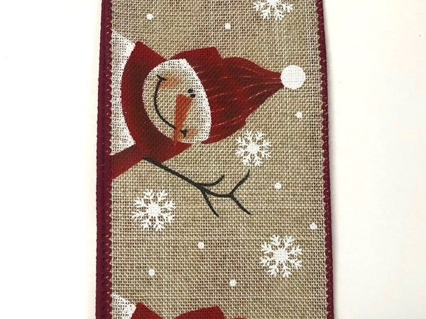 "Light Natural Linen/Cutest snowman 2.5""x10yd"