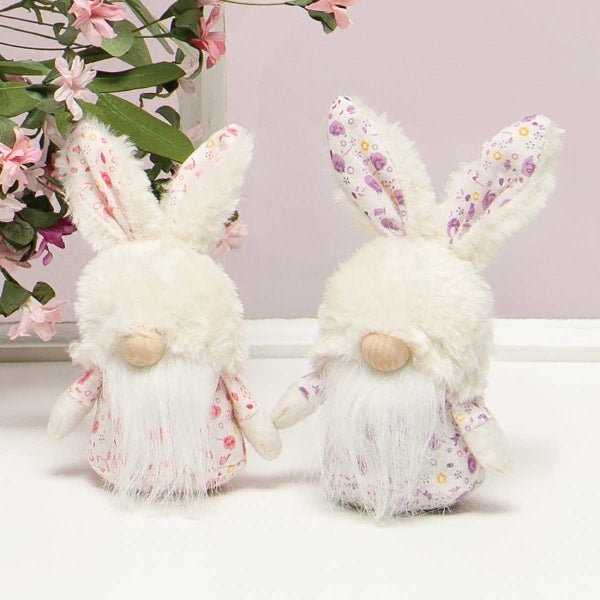 FLORAL PETITE BUNNY GNOME WITH FUZZY BUNNY HAT, WOOD NOSE,