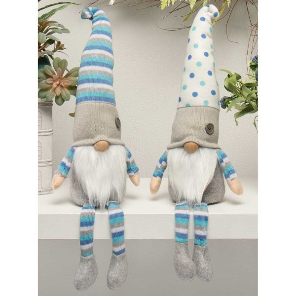 HANSEN BROTHERS GNOME WITH BLUE/WHITE HAT, WOOD NOSE, WHITE