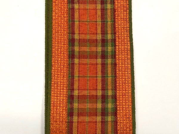 "Orange Faux Burlap/Fall Plaid Center 2.5""x10yd"