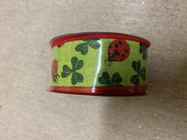 """1.5""""X10yd Ladybug/Glitter Shamrock Green"""