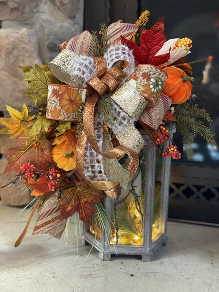 Fall Lantern Design.  Candle included