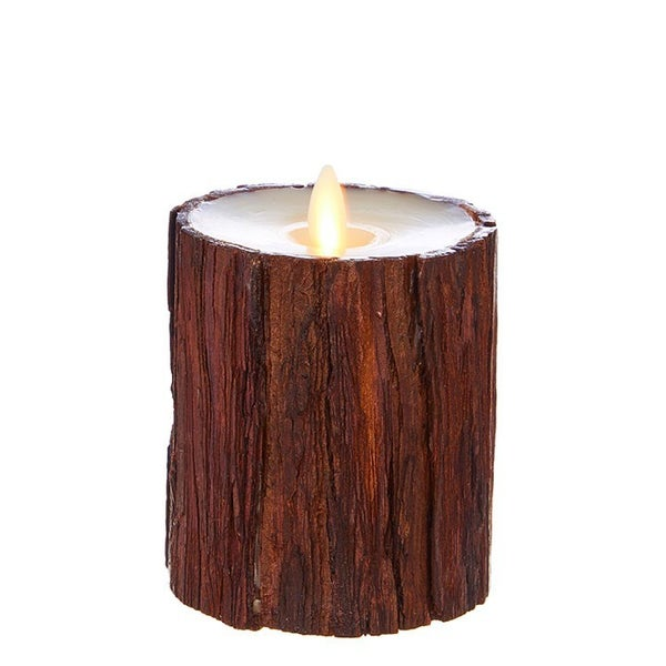 "3.5""X4"" Moving Flame Cedar Wrapped Pillar Candle"