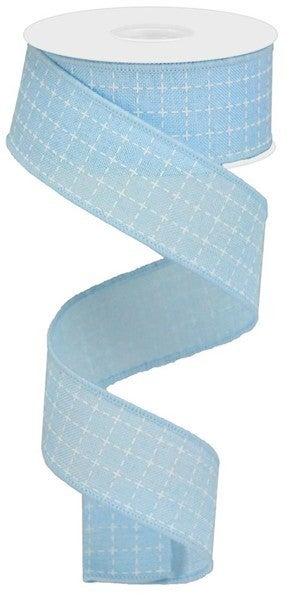 "1.5""X10yd Raised Stitched Squares/Royal Color: Pale Blue/White"