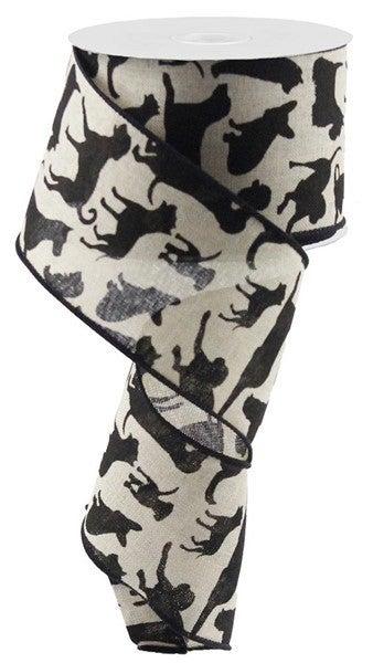 "2.5""X10yd Assorted Dogs On Royal Color: Lt Natural/Black"