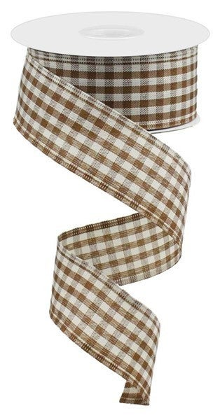 "1.5""X10yd Primitive Gingham Check Brown/Ivory"