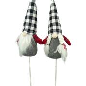 Plush Gnome Gingham Hat Pick W3xH22 Black/White