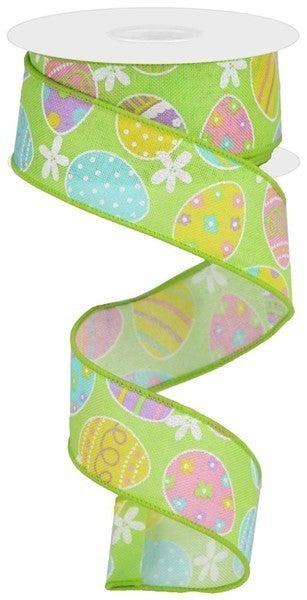 "1.5""X10yd Easter Eggs On Royal Grn/Lt Pink/Soft Yllw/Lav"