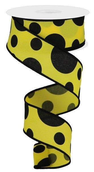 """1.5""""X10yd Giant Three Size Dot/Pg Color: Yellow/Black"""