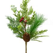 Berry Pinecone Mix Pine Pick H18