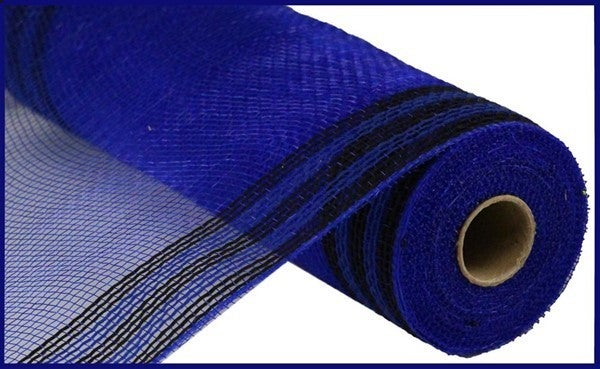 "10.5""X10yd Faux Jute/Pp/Border Stripe Royal Blue/Black"