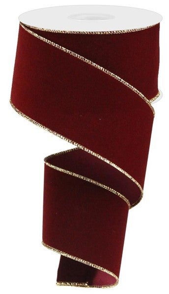 "2.5""X10yd Indoor Velvet Ribbon Cranberry W/Gold"
